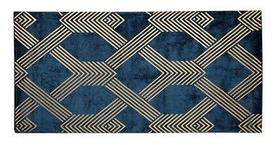 Beliani Dywan niebieski ze złotym geometrycznym wzorem wiskoza z bawełną  80 x 150 cm styl nowoczesny glamour