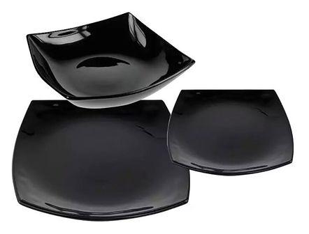 Serwis obiadowy Quadrato Luminarc 18 elementów czarne talerze dla 6 osób | Kup teraz®