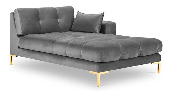 Szezlong Mamaia 102x185 cm prawy szary nogi złote