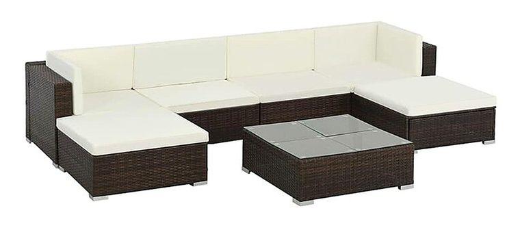 7-częściowy zestaw ogrodowy ze stolikiem brązowo-śmietankowy - Bero 7A