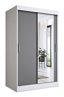 Szafa z lustrem przesuwna biały + antracyt - Palmira 3X