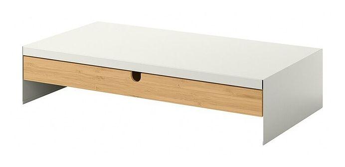 IKEA ELLOVEN Podstawka pod monitor z szufladą, biały, Szerokość: 47 cm