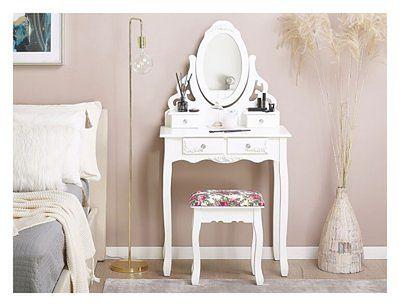 Toaletka biała 4 szuflady owalne lustro ze stołkiem styl glam do sypialni