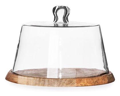 WOOD COLONY Patera okrągła ze szklanym kloszem 17x21 cm - Homla