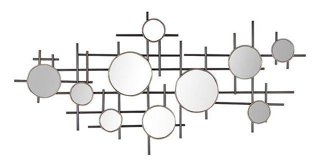 Lustro ścienne czarno-złote metalowa rama 10-częściowe 113 x 55 cm dekoracja ścienna styl nowoczesny glamour