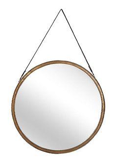 Lustro ścienne złote metalowa rama okrągłe 60 cm na pasku ze skóry ekologicznej postarzane dekoracyjne styl nowoczesny