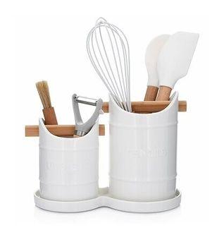 Zestaw 2 pojemników na przybory kuchenne z podstawką DUKA SMART biały porcelana