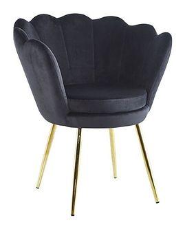 Welurowy fotel muszelka SHELL w kolorze czarnym na złotych nogach