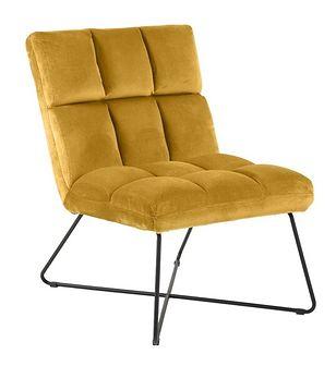 SELSEY Fotel wypoczynkowy Cerefolium żółty na czarnej podstawie