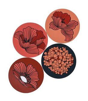 Zestaw 4 podkładek pod kubki w kwiaty DUKA VALLMO 10 cm pomarańczowy drewno