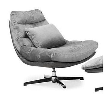 Fotel obrotowy MUTTO z podnóżkiem/ szary velvet