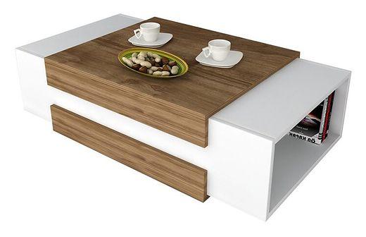 SELSEY Stolik kawowy nowoczesny Caph biały/orzech 110x61 cm