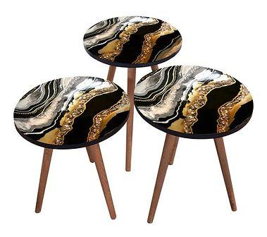 SELSEY Zestaw stolików kawowych Sehap w stylu nowoczesnym czarny