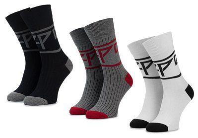 Zestaw 3 par wysokich skarpet męskich PEPE JEANS - Rib Socks Nate PMU10567 Multi 0AA