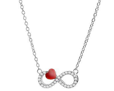 Naszyjnik srebrny z cyrkoniami i emalią - nieskończoność, serce