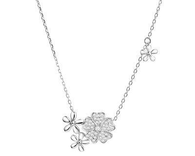 Naszyjnik srebrny z cyrkoniami - kwiatki