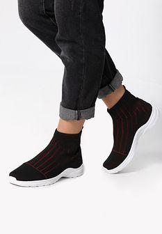 Czarno-Czerwone Sneakersy Pay Attention
