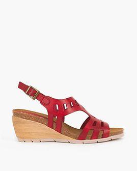 czerwone sandały skórzane na koturnie 009 -21371-ROJO