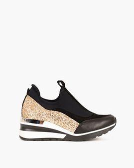 czarno-złote sneakersy skórzane z brokatem 046 309-ZL BRO