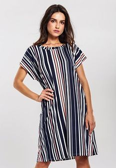 Granatowo-Beżowa Sukienka Come Up