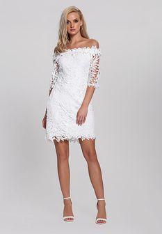 Biała Sukienka Cut Off
