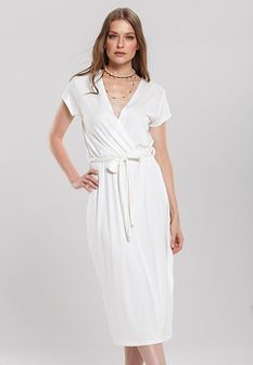 Biała Sukienka Peep