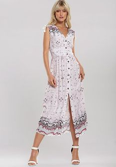 Biało-Różowa Sukienka Hit Town