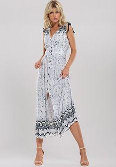 Biało-Niebieska Sukienka Hit Town