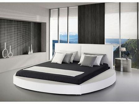 Łóżko białe skórzane 180 x 200 cm ze stelażem okrągła rama wysokie wezgłowie nowoczesne