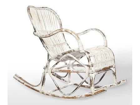 Fotel rattanowy bujany MARSEILLE biały przecierany