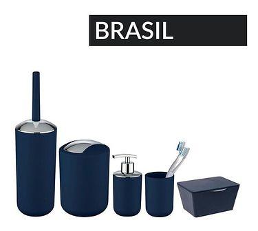 Pojemnik na szczotkę BRASIL, granatowy + szczotka WC, WENKO