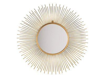 Lustro wiszące ścienne złote 80 cm okrągłe metalowe promienie słońca