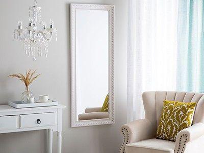 Lustro ścienne wiszące biało-srebrne 50 x 130 cm łazienka przedpokój