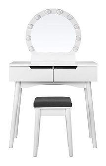 SELSEY Toaletka Gaga biała z okrągłym lustrem i stołkiem