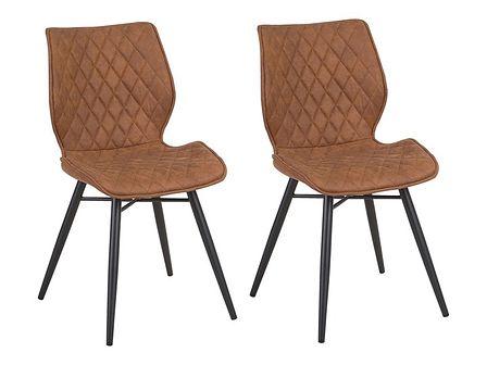 Zestaw 2 krzeseł brązowych tapicerowanych z metalowymi czarnymi nogami do jadalni styl nowoczesny industrialny