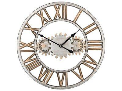 Zegar ścienny srebrno-złoty żelazny rzymskie cyfry Ø 46 cm industrialny design