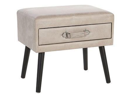 Stolik szafka nocna w kształcie walizki beżowa tapicerowana ekoskórą 1 szuflada 46 x 50 x 35 cm nowoczesny design