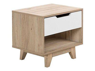 Szafka nocna jasne drewno biała szuflada 46 x 50 cm półka nowoczesna