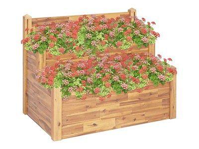 vidaXL 2-poziomowa donica ogrodowa, 110x75x84 cm, lite drewno akacjowe