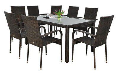 Meblobranie Komplet ogrodowy z brązowego technorattanu stół 150cm i 8 krzeseł