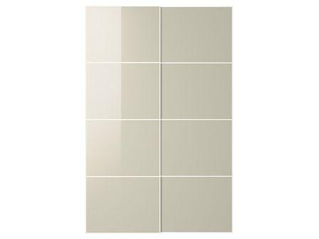 IKEA HOKKSUND Drzwi przesuwne, połysk jasnobeżowy, 150x236 cm