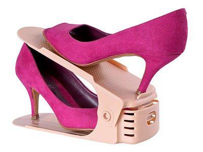 Regulowany organizer uchwyt stojak na buty beżowy