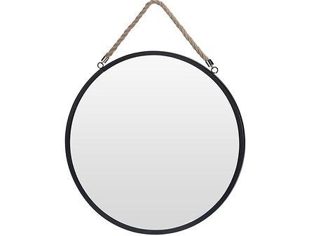Okrągłe lustro Olmi na sznurku - czarne