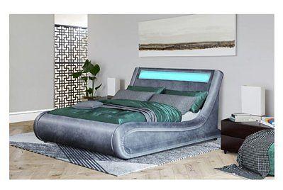 Łóżko z pojemnikiem 120x200 - COMO (138) LED popiel welur