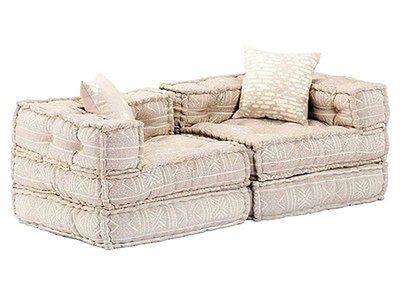 Dwuosobowa beżowa sofa modułowa - Demri 3D