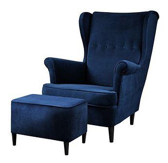 SELSEY Fotel z podnóżkiem Malmo granatowy welur