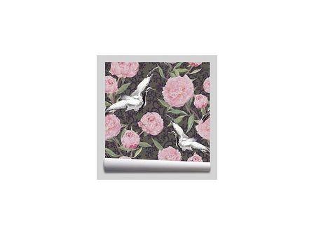 tapeta Ptaki kwiaty piwonii Akwarela róż szary