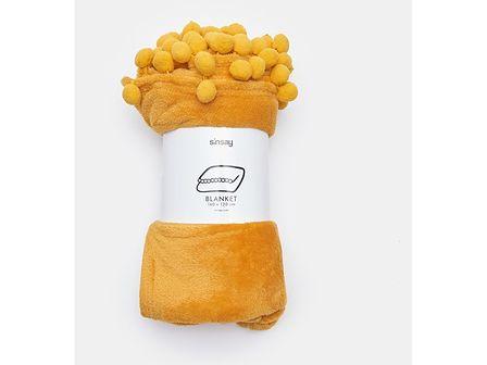 Sinsay - Koc z pomponami 130x160 - Żółty