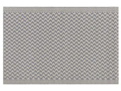 Dywan zewnętrzny szary materiał syntetyczny dodatki na balkon prostokątna mata 60 x 90 cm zygzakowaty wzór