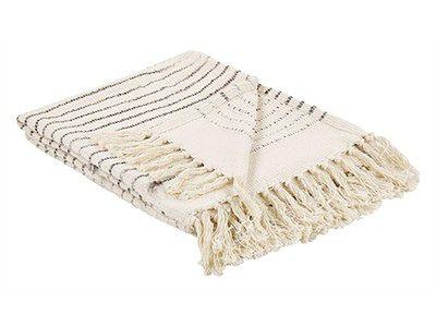 Koc beżowy bawełna z frędzlami prostokątny 128 x 164 cm narzuta na łóżko dekoracja
